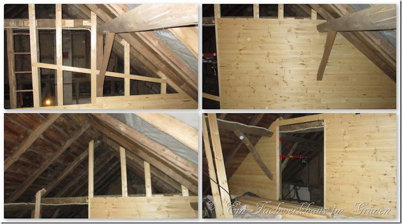 Die neue Holzwand wird fertig gebaut