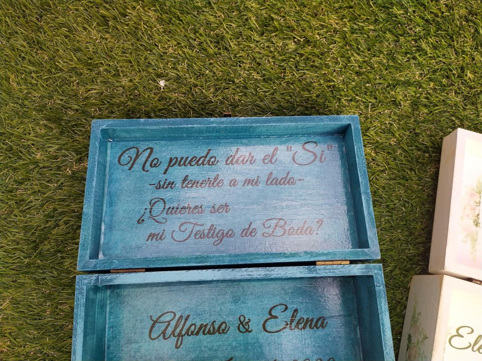 regalo testigos de boda, caja personalizada para testigos
