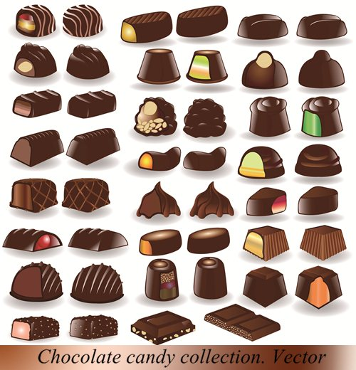 Stock Vector: Chocolate candy collection