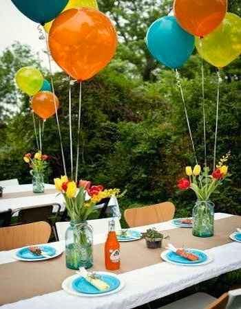 Colocacion de globos para usar en una fiesta de cumple
