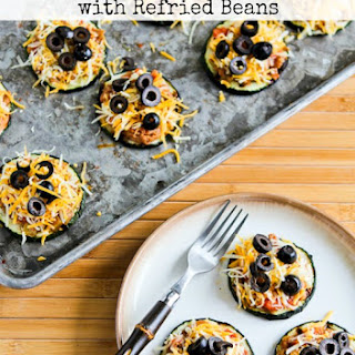 Grilled Zucchini Mini-Tostadas with Refried Beans.
