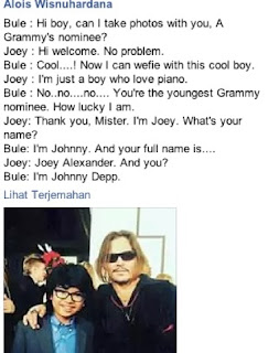 percakapan joey alexander dan johnny depp