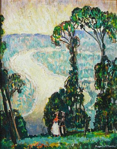Francis Focer Brown - Two Figures in Landscape with Road