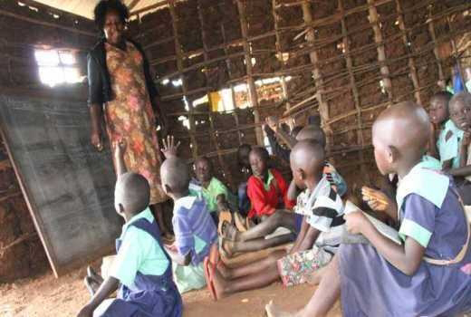 Teachers teaching in terrible conditions.