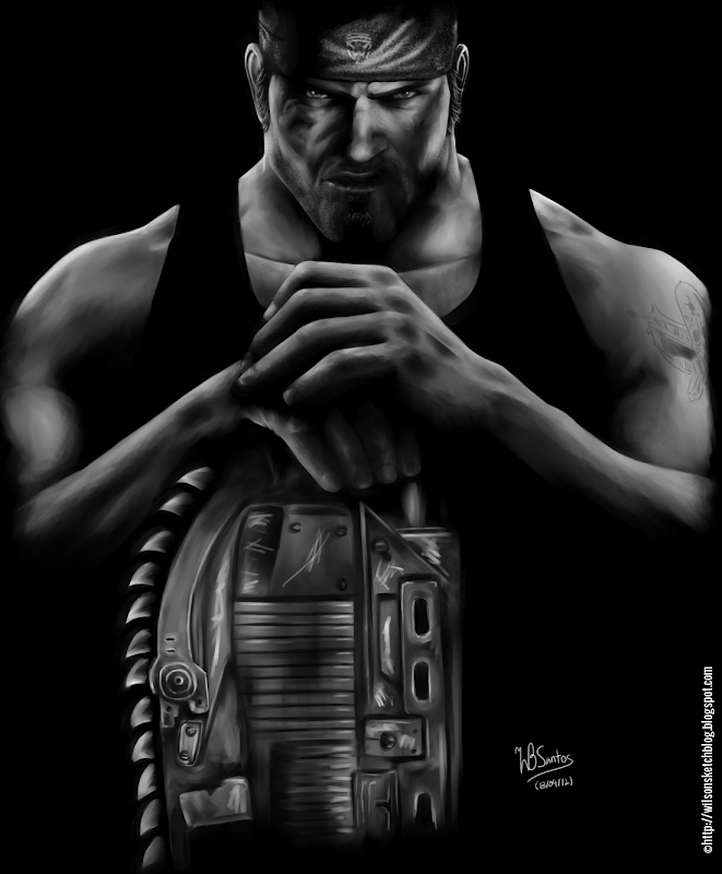 Digital painting portrait of Marcus Fenix from Gears of War