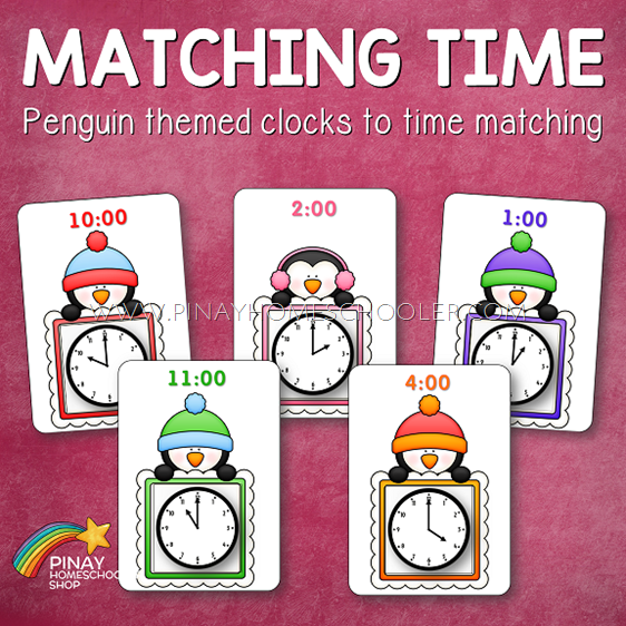 Penguin Themed Matching Clocks to Time Activity Cards