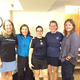Women's 2.5 League Finalists, Harvard Club.  Shown here, left to right: Deb Harrison, Becky Lingard, Maria Mayorga, Phoebe Slanetz, with Harvard Club Pro, Sharon Bradey.
