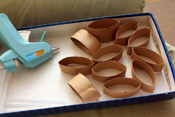 Rolinhos de papel higiênico cortado