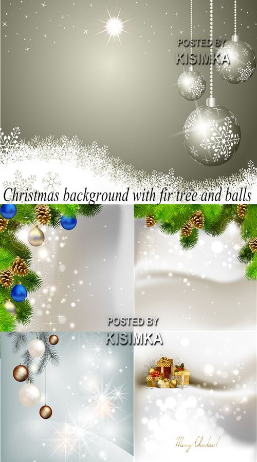 Stock: Christmas background with fir tree and balls