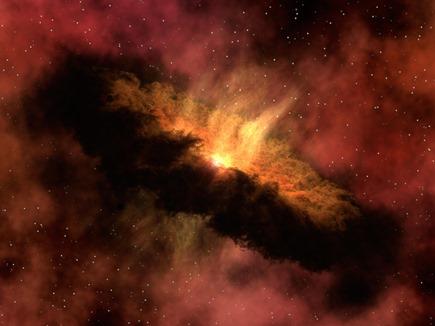 ilustração de um sistema solar em formação