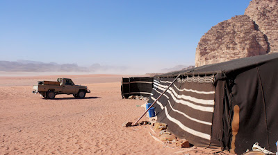 A Bedouin camp in the desert