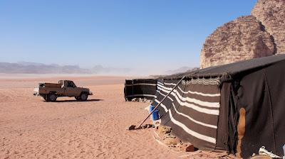 A Bedouin camp in the desert