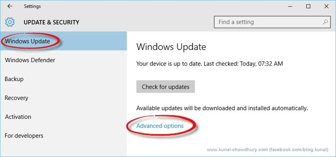 Windows Update Page in Windows 10 (www.kunal-chowdhury.com)