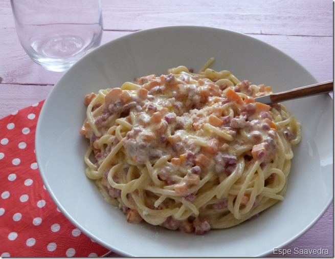spaguettis jamon zanahoria espe saavedra
