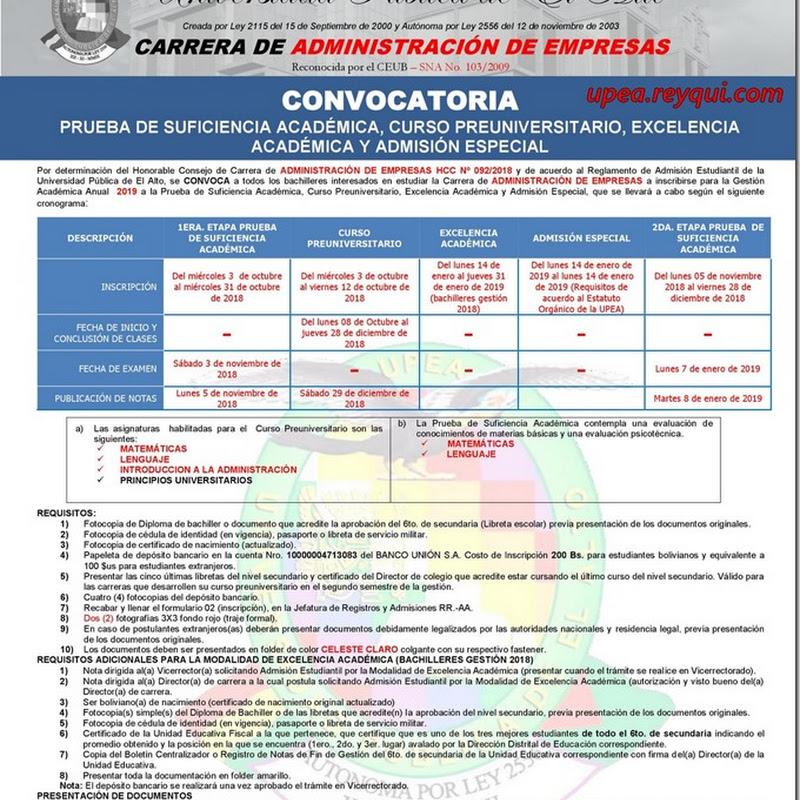 Administración de Empresas UPEA 2019: Convocatoria para la Prueba de Suficiencia Académica y Curso Preuniversitario