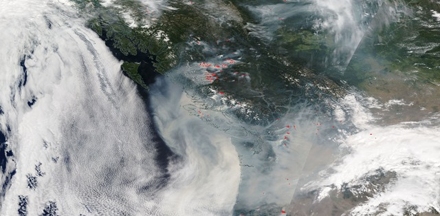 Satellite of smoke over Washington state from wildfires in British Columbia, 20 August 2018. Photo: NASA Worldview