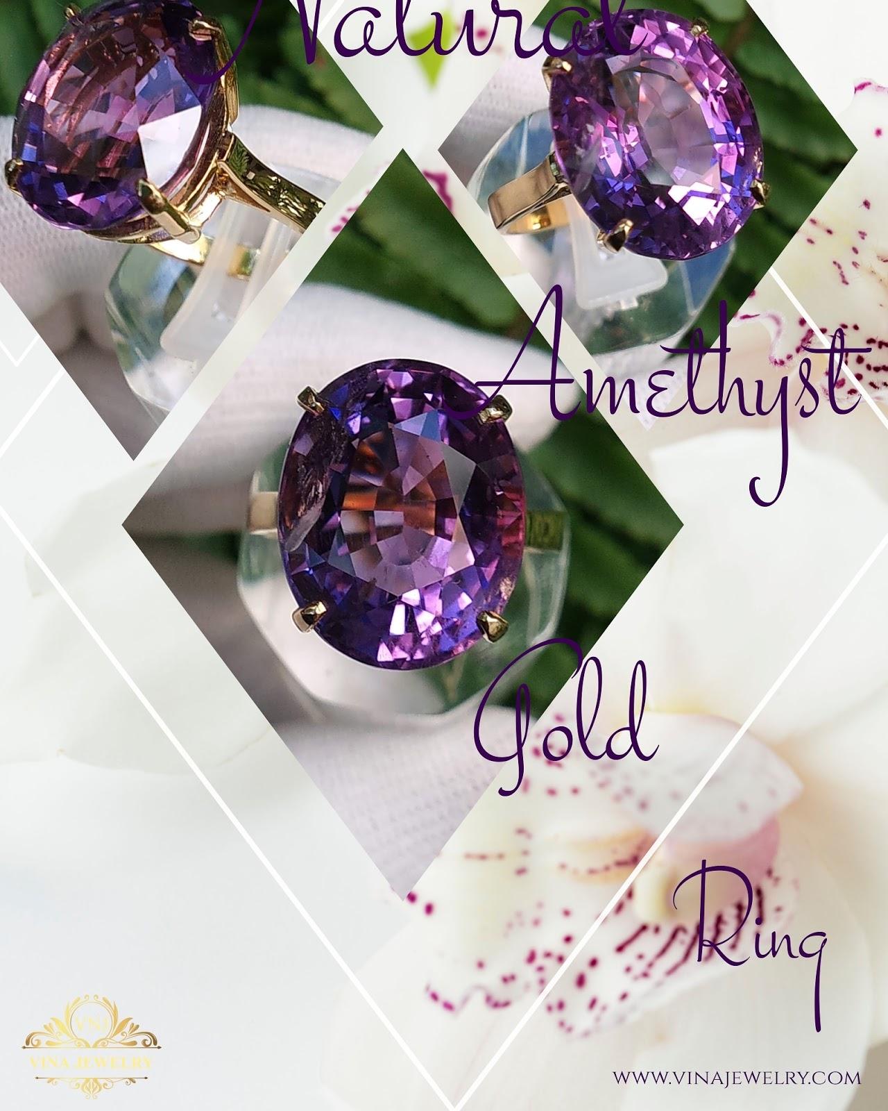 Nhẫn đá quý Natural Amethyst, Thạch Anh tím thiên nhiên vàng 18k