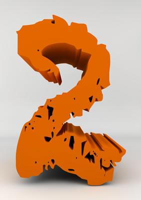 lettre 3D chiffron de craie orange - 2 - images libres de droit