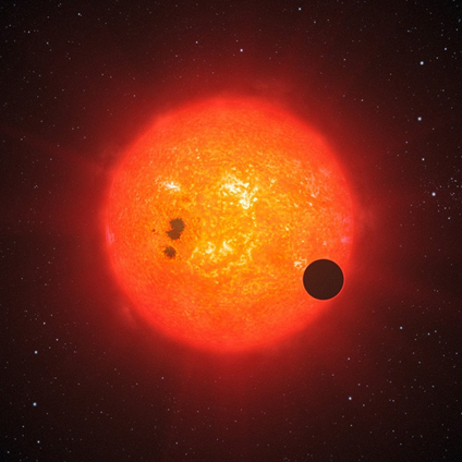 ilustração de um exoplaneta orbitando próximo da sua estrela
