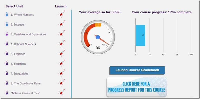 unlock math course dashboard