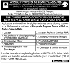 NIMH India Advertisement 2016 indgovtjobs