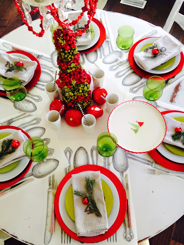 Red and Lime Green Christmas tablescape