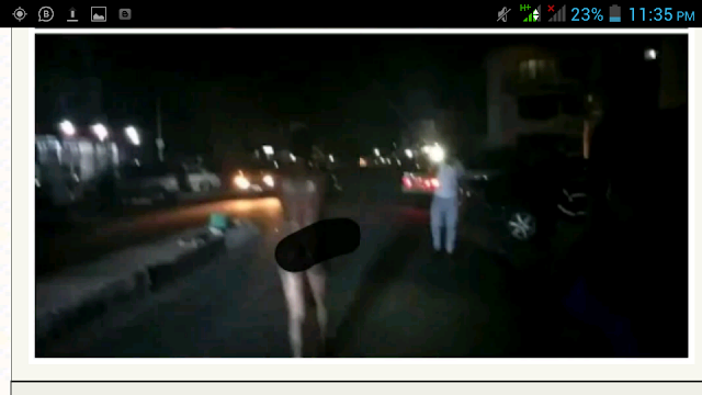 Lady Runs Mad In Owerri, Strips Unclad After A Man Dropped Her Off (Video)