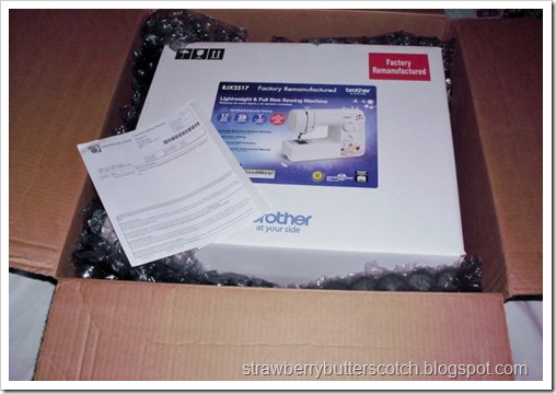 Unboxing a refurbished Brother sewing machine.