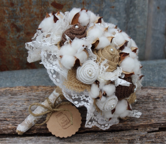 Gypsyfarmgirl The Burlap And Cotton Bouquet