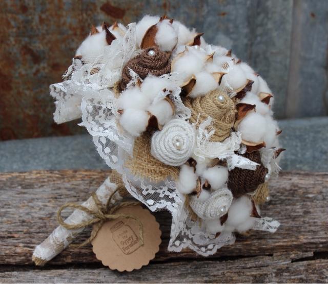 GypsyFarmGirl: The Burlap and Cotton Bouquet