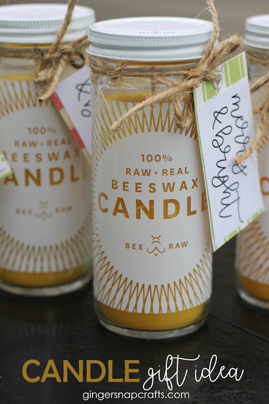 Candle Gift Idea with Printable at GingerSnapCrafts.com #candle #giftideas