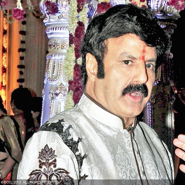 Balakrishna clicked during Hitesh Chenchuram and Sri Puja's wedding ceremony, held in the city recently.