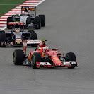 Kimi Raikkonen (Ferrari) leads Carlos Sainz (Toro Rosso) and Nico Hulkenberg (Force India)