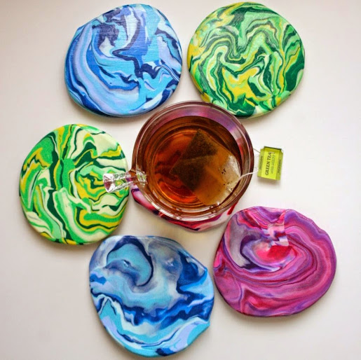 Marbled Clay Coasters