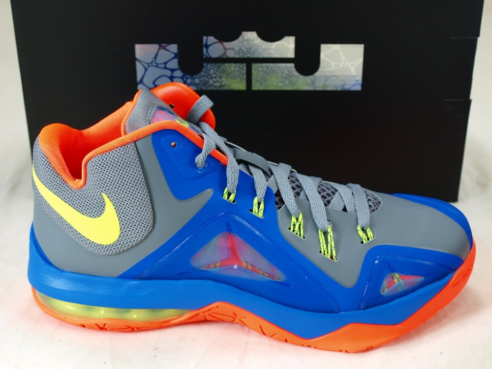 669ef6ddcd4a0 Nike LeBrons Ambassador 7 in Grey Blue Orange and Volt ...