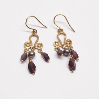 18K Gold & Pearl, Purple/Red Stone  Earrings