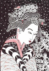 600 Zentangle Japanese Woman