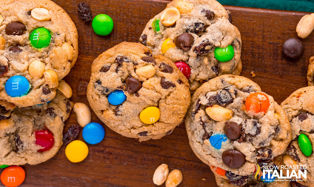Trailmix Cookies on a board