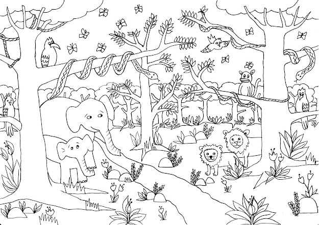 Free Cartoon Jungle Animals Coloring Pages