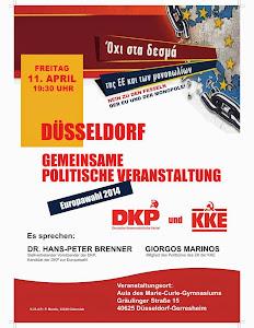 Plakat: »Düsseldorf. Gemeinsame Veranstaltung von DKP und KKE zur Europawahl 2014«.