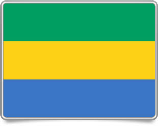 Gabonese framed flag icons with box shadow