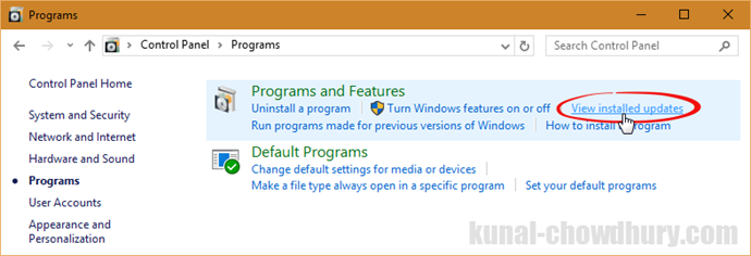 View Installed Updates on Windows (www.kunal-chowdhury.com)