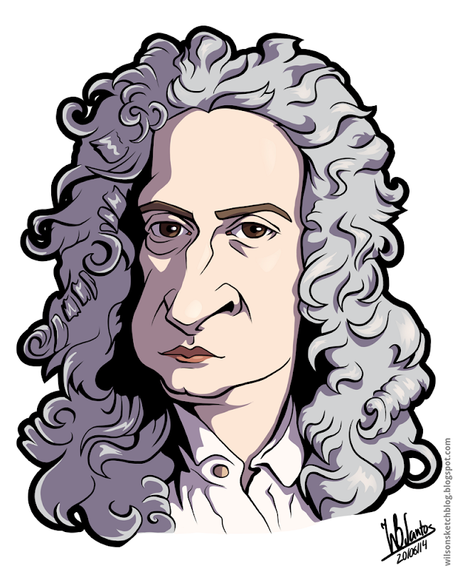 Cartoon caricature of Isaac Newton.