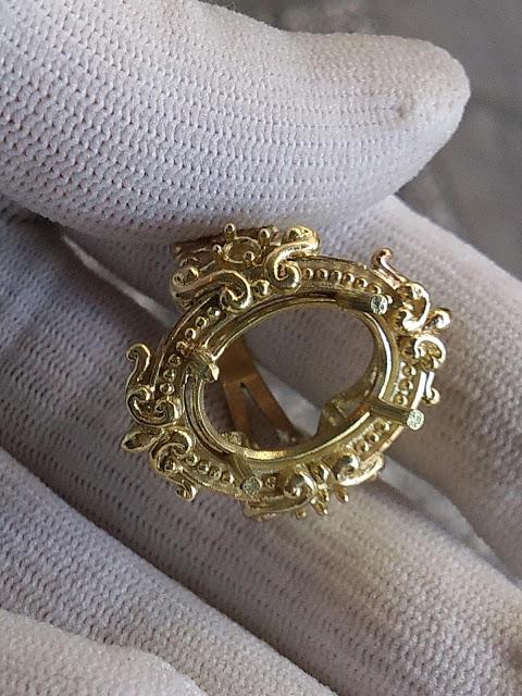 Vỏ nhẫn kiểu Pháp cổ điển vàng 18k