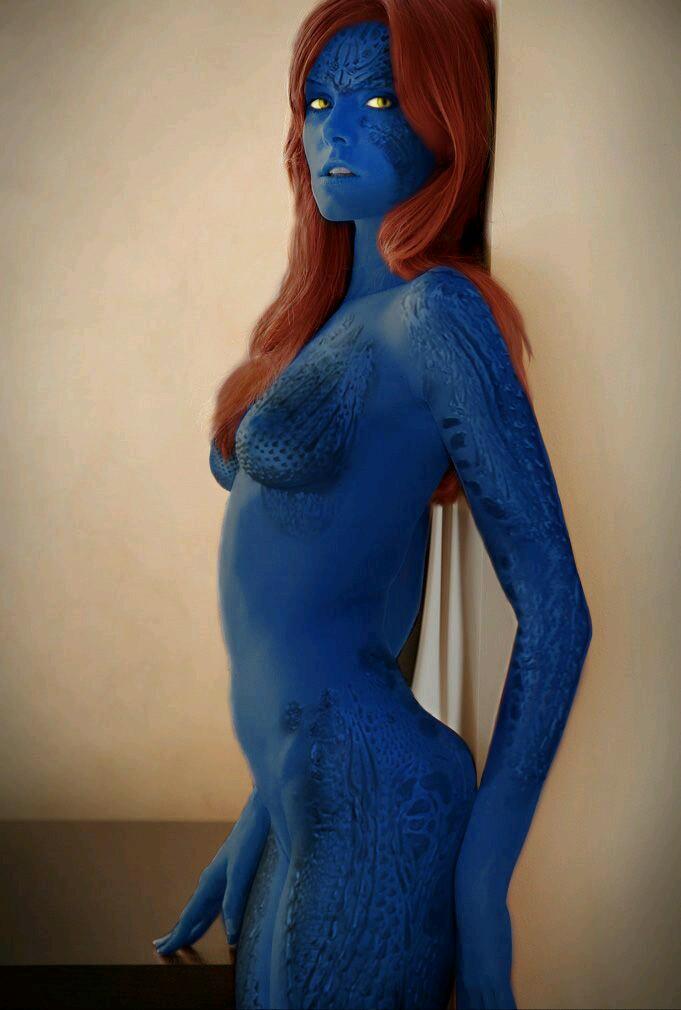 Mystique Nude Cosplay Girl-1628