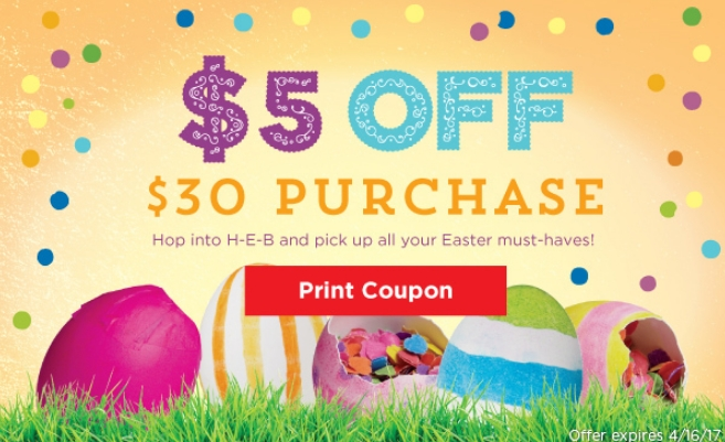 heb 5 off 30 purchase printable coupon