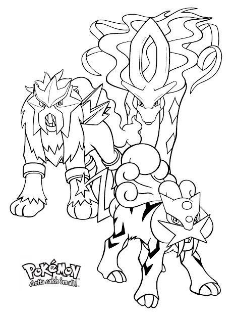 Raikou Entei And Suicune Legendary Pokemon Coloring Pages