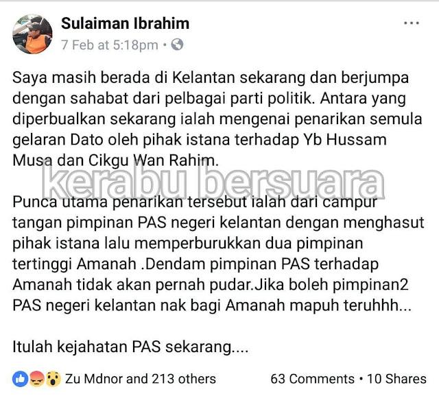 Leman PAN Dakwa Sultan Kelantan Sultan Muhammad Dihasut?