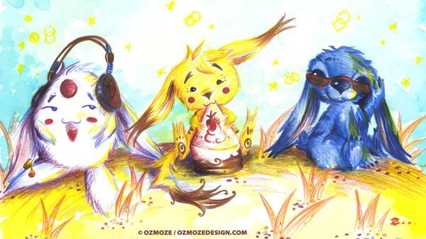 pikachu, mokona, stitch