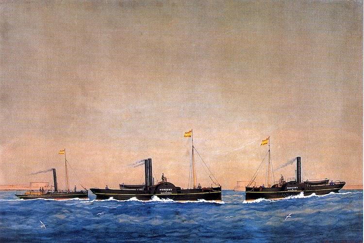 Remolcadores MONSENY 1, 2 y 3 segun acuarela de Jose Pineda. Museu Maritim de Barcelona.jpg